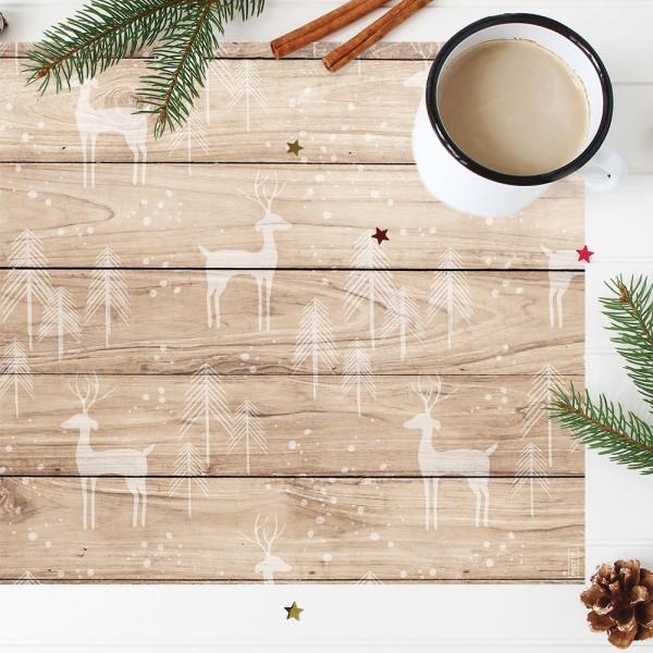 Mantel individual con estampado Cervatillos Navidad.