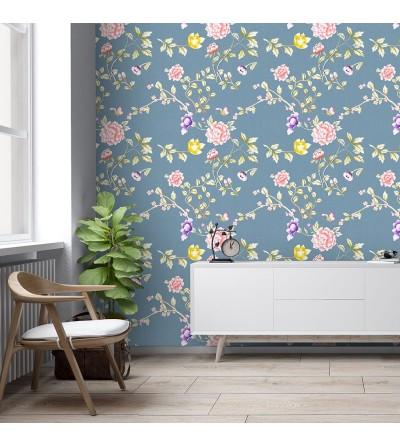 Detalle del Papel pintado autoadhesivo con estampado blue jeans Oriental Floral