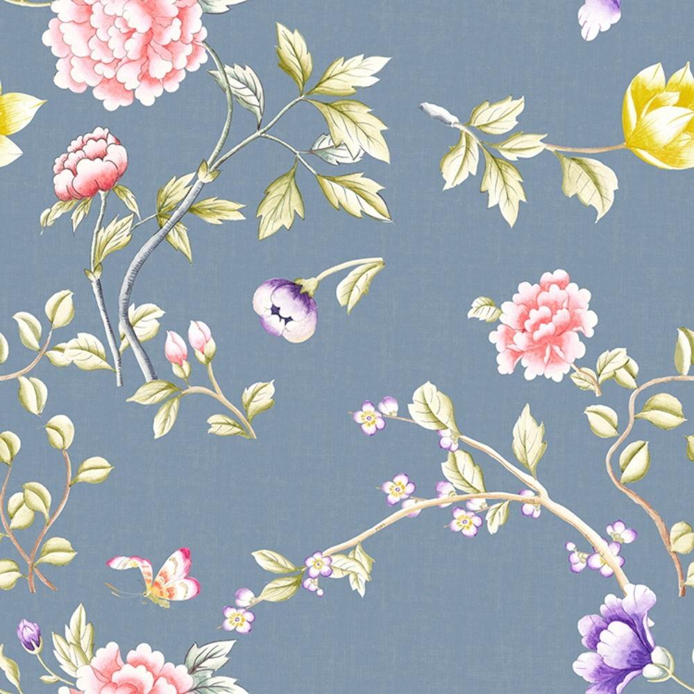 Detalle del Papel pintado autoadhesivo con estampado Oriental Floral.