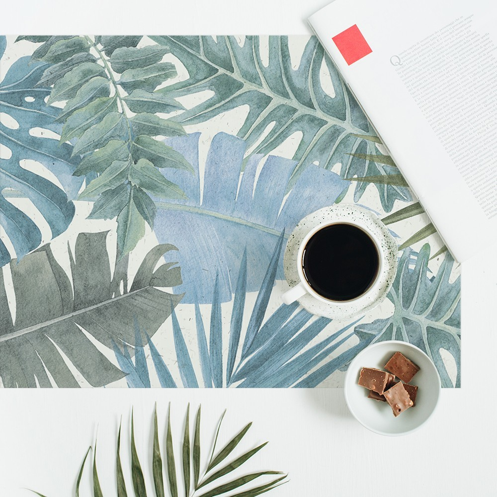 Mantel individual con estampado Selva Azul.