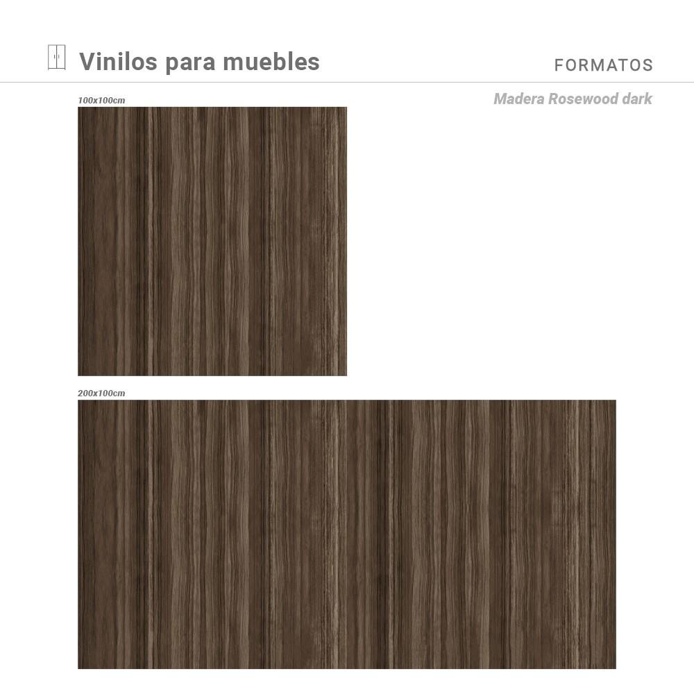 Medidas disponibles con estampado Madera Rosewood Dark.
