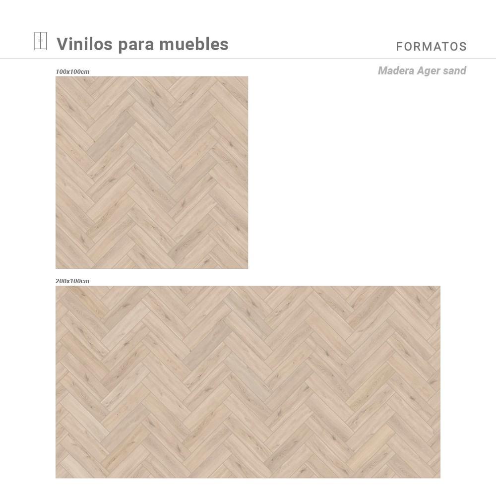 Medidas disponibles con estampado Madera Ager sand.