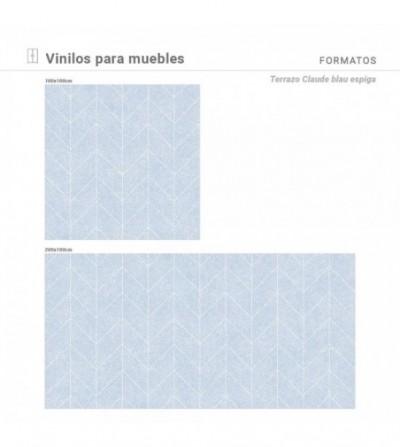 Medidas disponibles con estampado Terrazo Claude blau espiga.