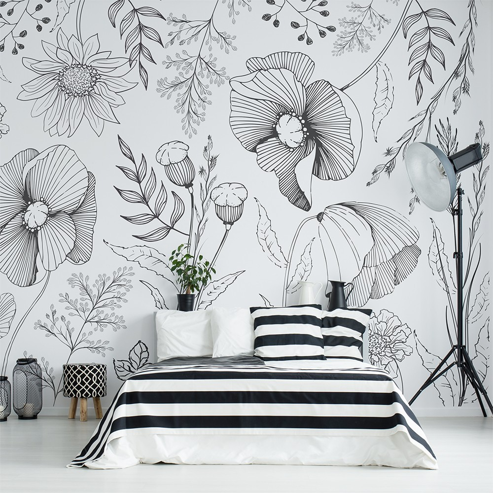 Mural Autoadhesivo Flores Ilustradas