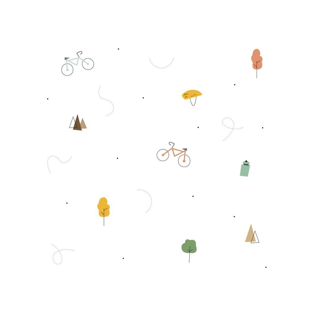 Detalle del Papel pintado autoadhesivo con estampado Bike