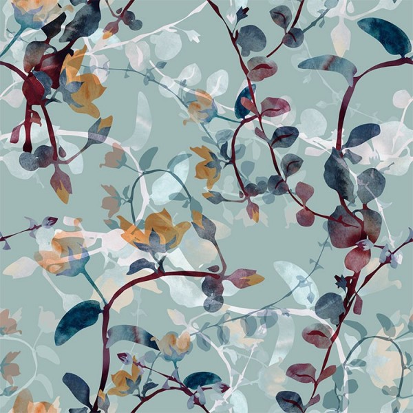 Detalle del Papel pintado autoadhesivo con estampado Flores de Otoño