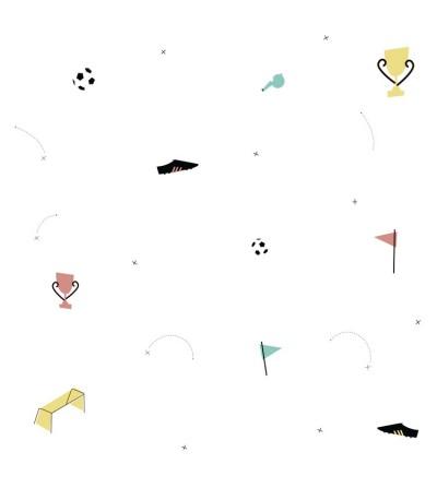 Detalle del Papel pintado autoadhesivo con estampado Futbol