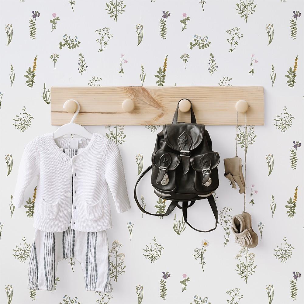 Papel Autoadhesivo Flores Silvestres Blanco