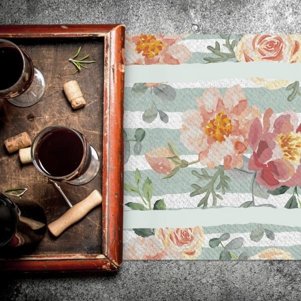 Camino de mesa con estampado  Primavera mint