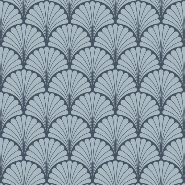 Detalle del Papel pintado autoadhesivo con estampado Palms Azul